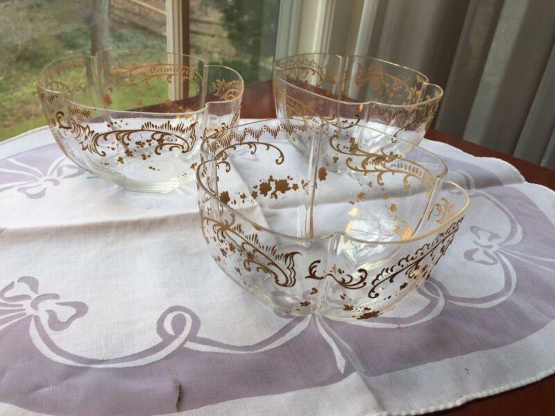 3 Josephinenhutte Gold Encrusted Antique Crystal Finger Bowls Lobed