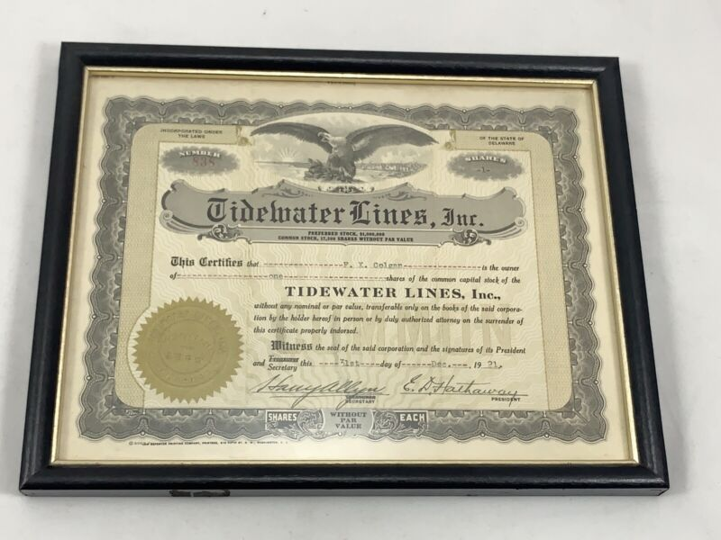 Tidewater Lines Inc. Stock Certificate 1921