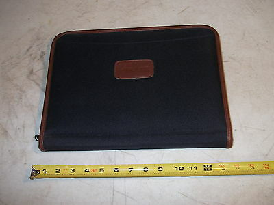 Leeds Black Canvas Zippered Business Portfolio Folder Neiman Marcus