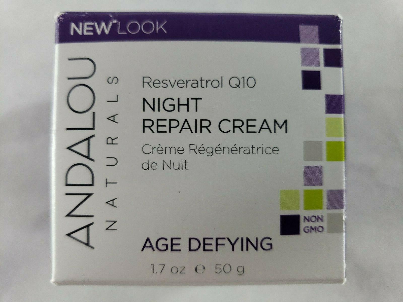 Andalou Naturals Resveratrol Q10 Night Repair Cream, 1.7 Oun