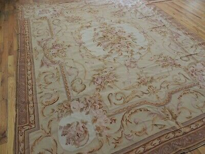 8x10, 8x9 French Aubusson Square Needlepoint oriental area rug  wool Beige Gray  Aubusson Square Rug