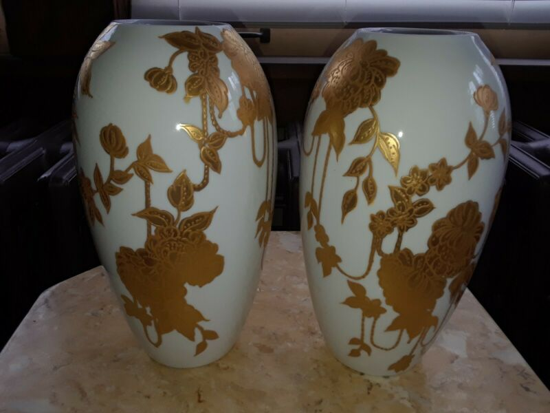 Pair Hand Painted Bavaria White Porcelain 9 inch Vase with Textured Gold Leaves