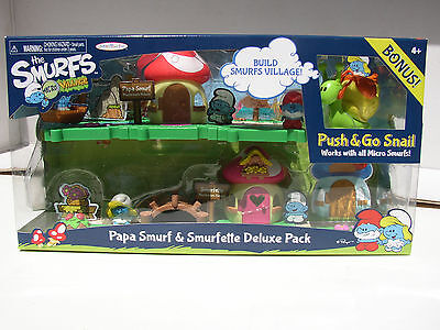 SMURFS MICRO VILLAGE PAPA SMURF & SMURFETTE + PUSH & GO SNAIL DELUXE PACK NEW!