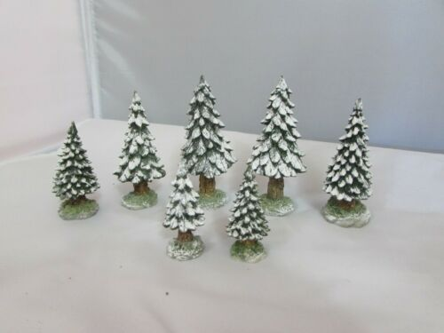"Dept. 56   Scotch Pine Snowy Trees  Set of 7  3""-2"""