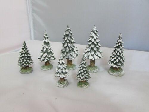 "Dept. 56   Scotch Pine Snowy Trees  Set of 7  3""-2"""