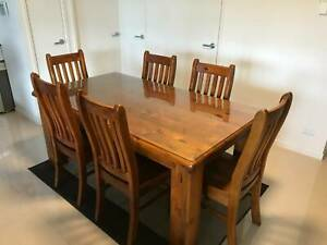 Dining Table Set - 6 seats with custom-ordered glass protector