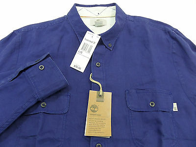 - TIMBERLAND men's SLIM FIT LINEN CARGO SHIRT Roll-Up Long Sleeve Large