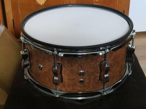 "Custom 14"" x 6.5"" Ludwig Snare Dual Zone Electronic Drum Pad Burl Laminated Wrap"