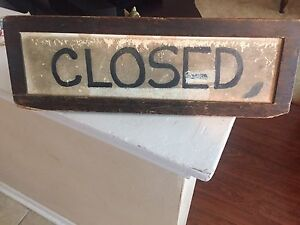 "Vintage ""wicket"" closed wood sign"