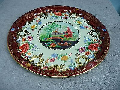 """Vintage Daher Decorated Ware 16"""" Tray Oriental Landscape Scene Made in England  for sale  Athol"""