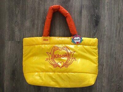 KITSON LA LOS ANGELES Puffy Large Tote Bag Nylon Shoppers Bag Yellow Orange (Puffy Bag)