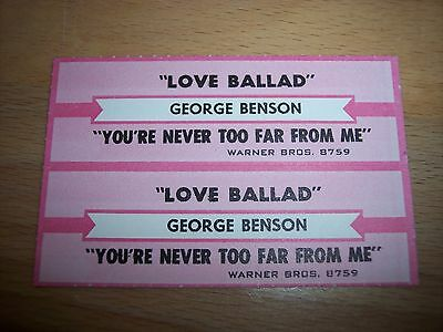 "2 George Benson Love Ballad/You're Never Too Jukebox Title Strips CD 7"" 45RPM"