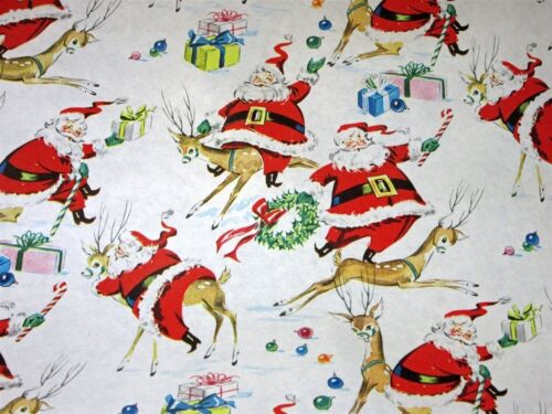 "VTG CHRISTMAS WRAPPING PAPER GIFT WRAP SANTA RIDING REINDEER 1950 NOS 20"" X 30"""