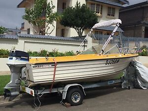 BFG fiberglass boat 70hp evinrude and broker trailer Kogarah Bay Kogarah Area Preview