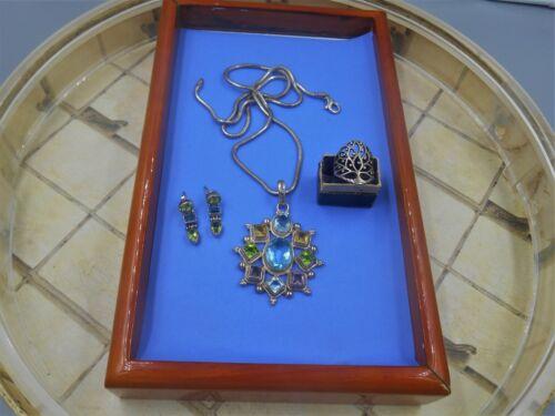 STERLING SILVER LOT BEAUTIFUL GEMSTONE LG PENDANT/CHAIN  DANGLE EARRINGS RING