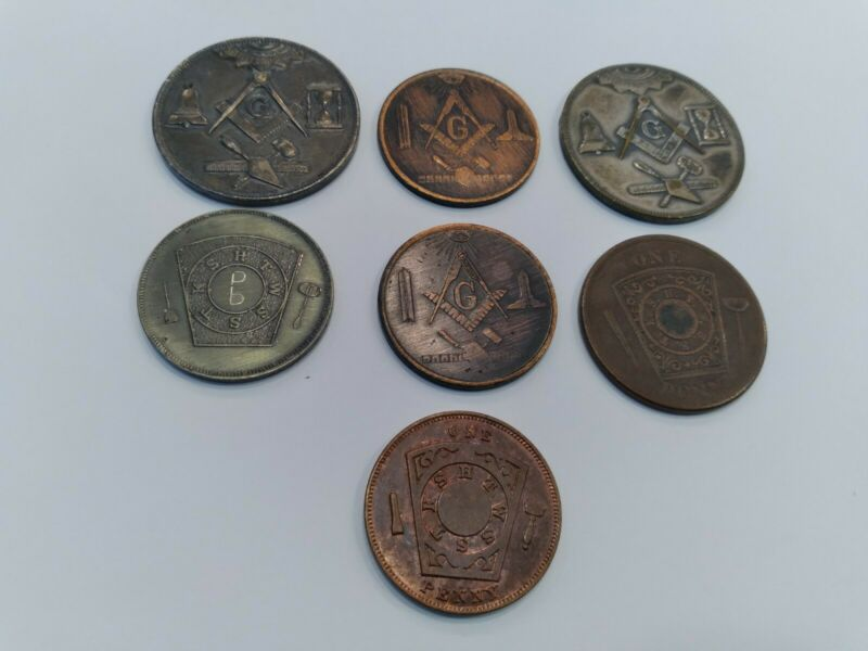 Lot 7 Vintage ~ MASONIC COINS ONE IS DATED 1881