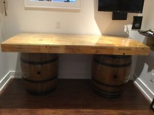 Wine barrel and wine crate desk