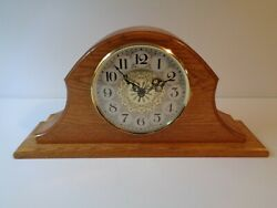 Solid Oak Mantel Clock with Ornate Clock Face  Battery Operated  WORKS
