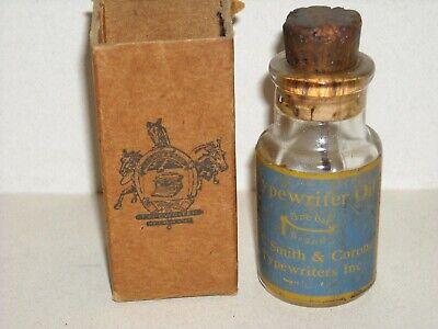 Vintage L. C. Smith & Corona Typewriter Oil Cork Type Bottle w/ Partial Box