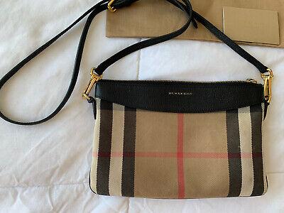 Burberry Peyton Cross Body Handbag Women's House Check Leather Bag Small - Beige