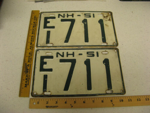 1951 51 NEW HAMPSHIRE NH LICENSE PLATE PAIR SET #EI711 CHESHIRE COUNTY