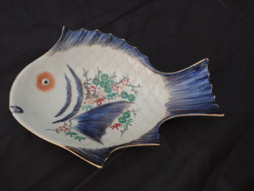 ANTIQUE IMARI PORCELAIN FISH DISH PLATE JAPANESE SIGNED