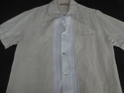 Havanera Co Mens Lounge Button Front Short Sleeve Linen Rayon Shirt Small S