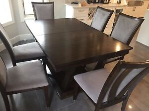 Dining table with 6 chairs espresso and gray