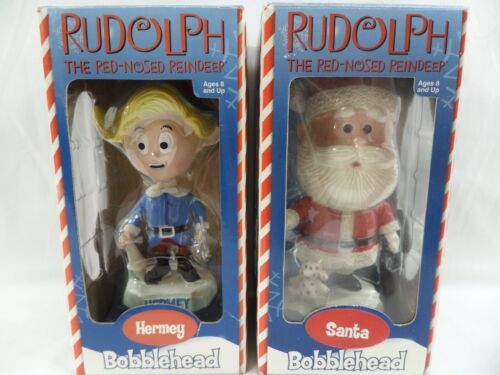 Rudolph the Red Nosed Reindeer Santa and Hermey Bobbleheads 2002 Christmas