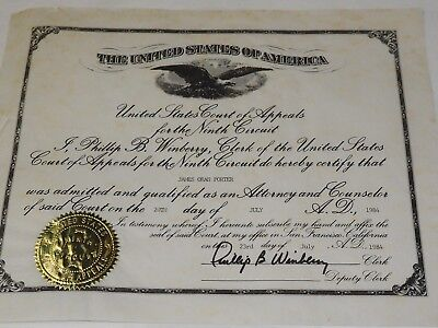 Admission To The United States Court Of Appeals Ninth Circuit 1984 Original Cert