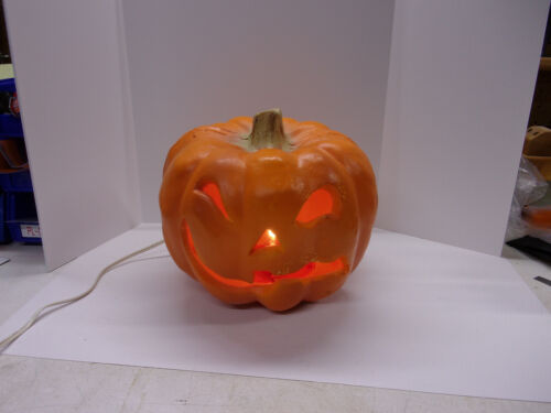 "Halloween Decoration 1993 Trendmasters Pumpkin Blow Mold Light 10"" Tall Works"