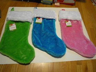 New ! Fuzzy Plush Christmas Stockings Holiday Decorations Red  or Green or Blue - Green Christmas Stockings