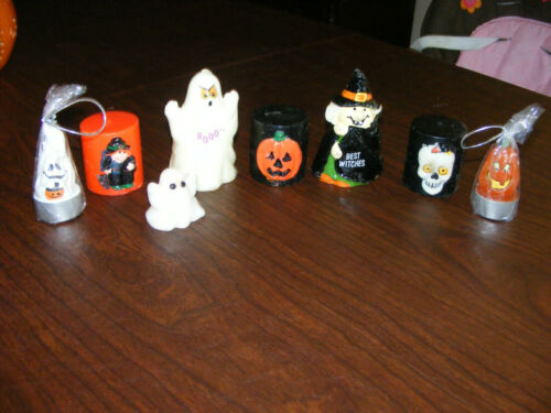 Vintage Lot of 8 Halloween Candles Witch, Ghost , Pumpkins, Skull