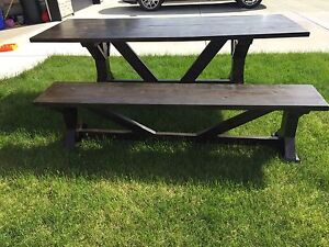 Custom Built Solid Wood Trestle Table and Bench - price reduced!
