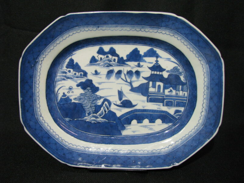 "Mid-19th Century Chinese Canton Blue & White Porcelain 12.5"" Platter, Mint"
