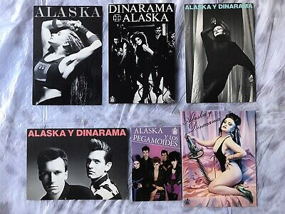 6 Postales originales años 80.Alaska y Dinarama.Pegamoides.Fangoria