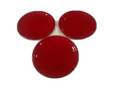 """Mamma Ro set of 3 vintage Red Salad Plates 8 1/4"""" Italy"""