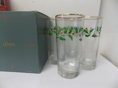 Lenox Holiday Tall Coolers Beverage Glasses Gold Trim Set of 4 NEW in Box