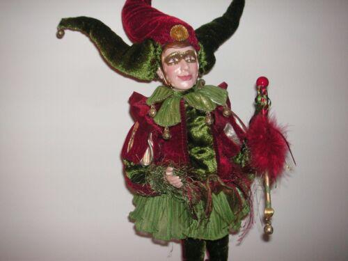 "Jester Porcelain 18"" Joker Mardi Gras Green & Cranberry Doll"