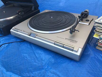 2 Direct Drive Turntables & LPs. 1970s Marantz & Sansui