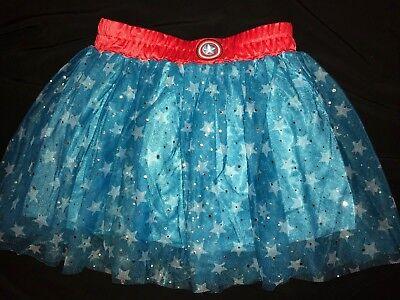 girls ONE SIZE 12/14? CAPTAIN AMERICA SKIRT MARVEL HALLOWEEN COSTUME WEAR sparkl - Captain America Costume For Girl