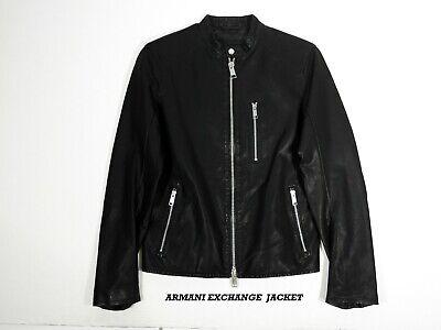 A|X ARMANI EXCHANGE MEN'S BLOUSON MOTO JACKET COAT FAUX LEATHER BLACK PRE-OWNED