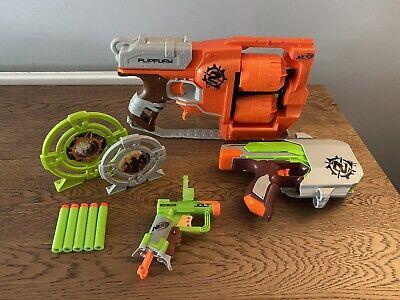 NERF Zombie Strike Flipfury Sidestrike Jolt Target Blaster Toy Bundle