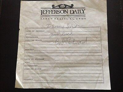 """ROBERT (BOB) PACKWOOD OREGON REPUBLICAN SENATOR SIGNED PAPER """"ME TOO"""" KSOR DAILY"""