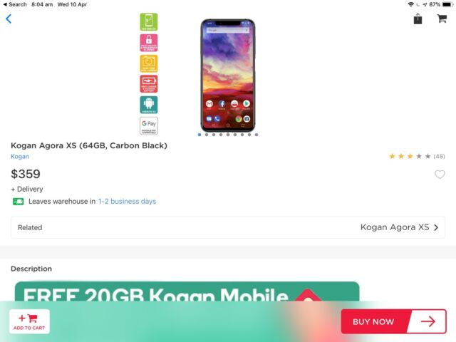 info for b4159 dbc5e Kogan Agora XS~ with case screen protector and wireless charger ...