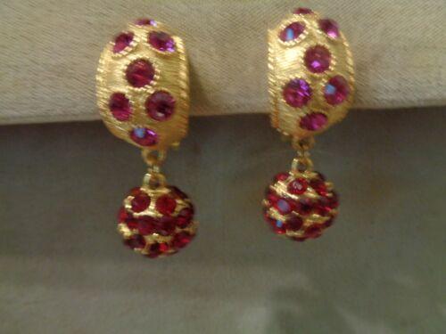 Vintage Blanca Gold Tone Red Ball Rhinestone Designer Clip On Earrings (#24)