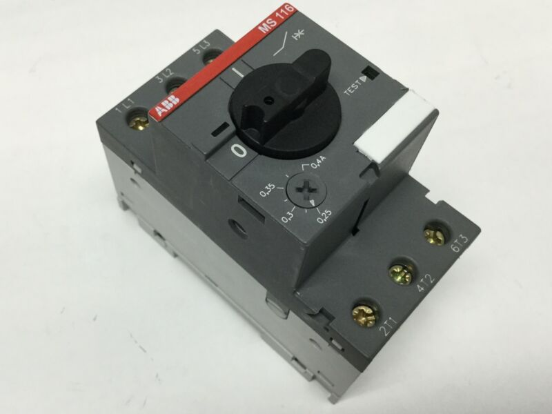 ABB MS116-0.4 Manual Motor Starter, 600VAC Adjustable 0.25-0.4A, 3-Pole