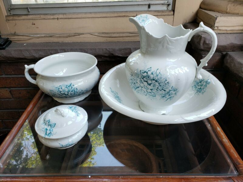 "Antique (4) PC Cornell England Chamber Set Wash Basin Set 16"" Bowl"