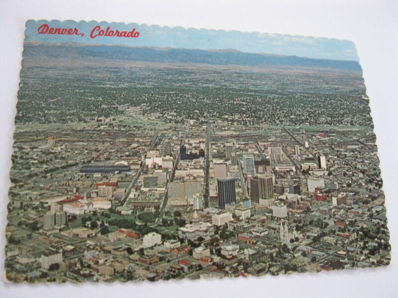 Vintage 1975 Aerial View Denver CO Downtown Postcard Rockies Scenic Metropolis