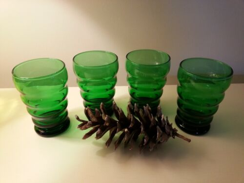 Vintage Anchor Hocking Forest Green Whirly Twirly Juice Glasses Tumblers (4)